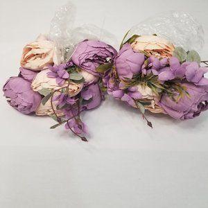 2 bundles of Faux Peonies Flowers Lavender and Pea